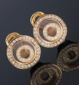 Et par brillantørestikker af 18 kt. guld med bevæglige cirkler (2)