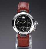 Cartier Pasha  midsize ladies' watch, steel, black dial, 2000's