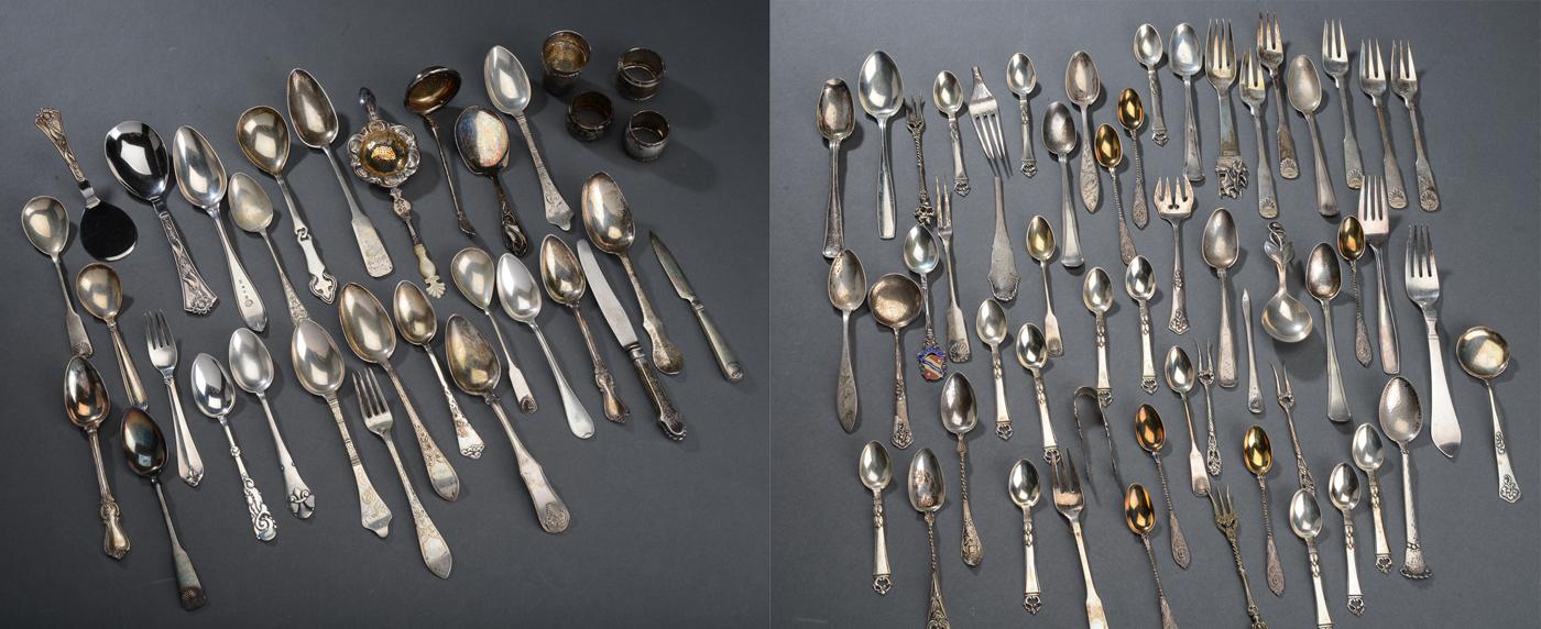 En samling diverse bestik med videre af sølv, forskellige mønstre, bestående af 85 dele - En samling diverse bestik med videre af sølv 830 og 11 Lødigt, forskellige mønstre, bestående af i alt 85 dele, vægt excl dele med montering af stål, vægt 1827 gram. Fremstår delvis med graveringer