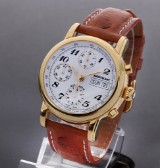 Montblanc 'Meisterstuck'. Men's chronograph, gilt steel with papers, 2008