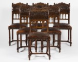 Chairs / trophy room chairs, wood / leather / brass (6)
