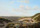 I.P. Møller. Udsigt fra klitterne, Veilby ved Harboøre, 1851