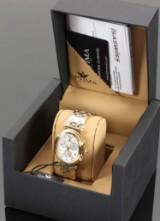 Optima Since 1923. Swiss made Chronogarph, model OSC337-GG-1. Dame armbåndsur med urkasse og lænke af forgyldt stål.