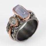 Håndlavet ring m/ akvamariner, guldbelagt samt rhod. sterling sølv, 11,5 gram