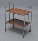 Sammenklappeligt severings/rullebord, forkromet stål samt palisanderlaminat
