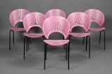 Nanna Ditzel. Trinidad chairs, model 3298, rasberry (6)