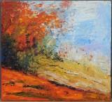 Helle Gerd Petersen, olie på træ, 'Udsigt fra Kaholehaven'