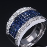 Sapphire and diamond ring, 18 kt. white gold, sapphires total approx. 1.96 ct., approx. 15.2 g.
