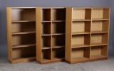 SKM  / dansk møbelproducent. Tre bogreoler, egetræ (3)