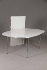 Piet Hein & Bruno Mathsson. Super Ellipse table with extension leaves, white laminate (3)