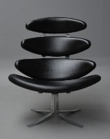 Poul M. Volther. 'Corona' lounge chair, black leather, Model EJ 5