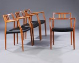 Niels O. Møller. A set of four teak lounge chairs, Model No. 64 (4)