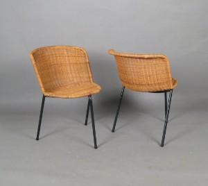 Helmut Magg Paar Tripod Stühle Korbgeflecht Modell 1193 Für