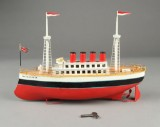 Ship, painted metal, in the form of Mauretania, presumably Carette c. 1920
