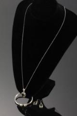 Labradorit smykkesæt i sterlingsølv - halssmykke, armring og øreringe (5)