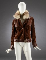 Gucci, short jacket in suede and leather, size 36-38.