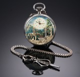 Reuge men's pocket watch, 'The Fountain' scene, with musical movement, sterling silver, 1990's