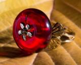 Bernsteinring / Ring, Rot, 585er Gold, 3,23 g