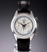 Tag Heuer 'Carrera' men's chronograph, steel, silver-coloured dial, c. 2005