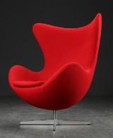 Arne Jacobsen. The Egg easy chair, red Hallingdal wool