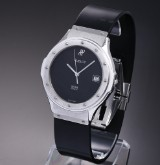 Hublot 'Classic'. Men's watch, steel with black dial with date