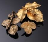 Tre brocher af forgyldt 925 sterlingsølv, Flora Danica