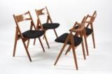 Hans J. Wegner. Four chairs, 'Saw Horse Chair', oak, CH-29 (4)