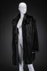 Black mink swing coat, size 42