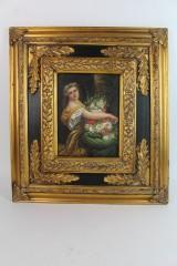 Ölgemälde im prunkvollen Rahmen, Portrait einer Dame