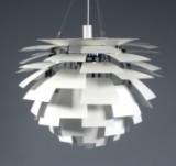 Poul Henningsen. Pendant light 'Artichoke' with 72 leaves in white varnished metal, Ø 84 cm., number certificate included