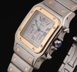Cartier 'Santos Chronoflex'. Herrechronograf i 18 kt. guld og stål