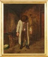 Man med hatt oljemålning