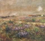 Johan Gudmann Rohde (1856-1935), mixed media on paper, landscape with lavender