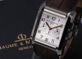 Baume & Mercier 'Hampton XL'. Herrechronograf i stål med sølvfarvet skive, ca. 2014