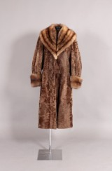 Broad-tailed Persian lamb coat with Russian crown sable, size 42-44