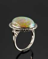 Opal and diamond ring, 18 kt. white gold, c. 1935