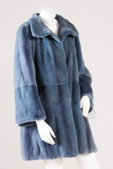 Short coat, velvet mink, denim blue, size 40