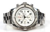 Breitling 'Super Avenger'. Men's chronograph in steel with white dial, box, and two sets of extra straps