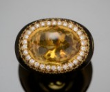 Gold ring with citrine, white diamonds and smoky quartz. Zoccai, Italy