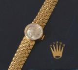 Vintage Rolex Precision damearmbåndsur m/ lænke af 18 kt guld i org æske