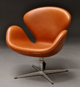 Arne Jacobsen. Lounge chair, The Swan, year 2013, with certificate. Elegance leather