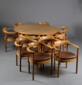 Henning Jensen & Torben Valeur. Konferencebord samt 10 armstole af mahogni, model M40 (12)