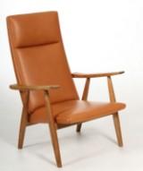 Hans J. Wegner. High-back lounge chair, model GE260A reupholstered