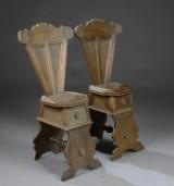 Sæt på fire italienske scabello stole af eg. Renæssancestil, ca. 1900. (4)
