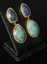 Øreringe sølv/forgyldt med natur-smaragder, safirer og diamanter (2)