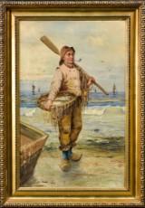 Ubekendt Kunstner (antagelig italiensk), olie på lærred, portræt af fisker