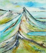 Poul Spanggaard, akryl på lærred, landskabsparti