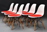 Charles Eames. Sæt på seks skalstole, model DSW (6)