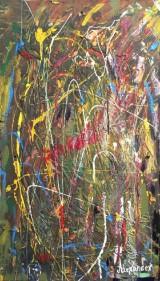Alexander Gregor, Mischtechnik auf Hartfaserplatte, Abstraktes Gemälde