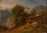 August Vilhelm Boesen, olja på duk, sydländskt bergslandskap